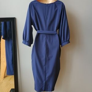 SHEIN Dresses - Shein Navy Puff Sleeve Dress with Belt